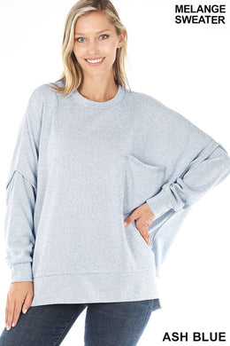 Ash Blue Melange Hi-low Pocket Sweater -Available in XL