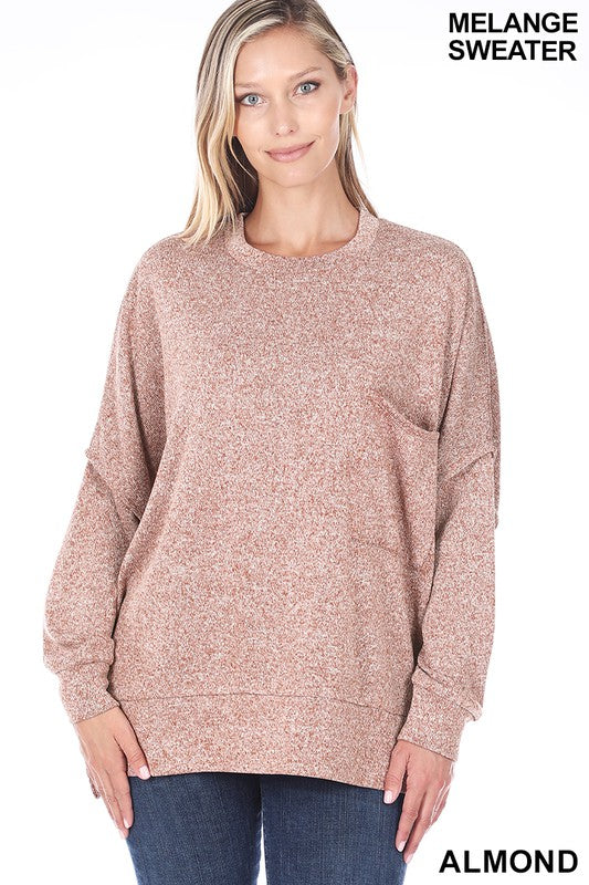Almond Melange Hi-low Pocket Sweater -Available in XL