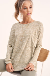 Khaki Cozy Central Hacci Top