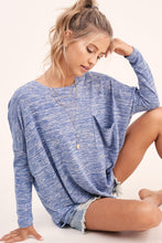 Blue Cozy Central Hacci Top