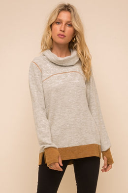 Ribbed Contrast Brushed Hacci Pullover