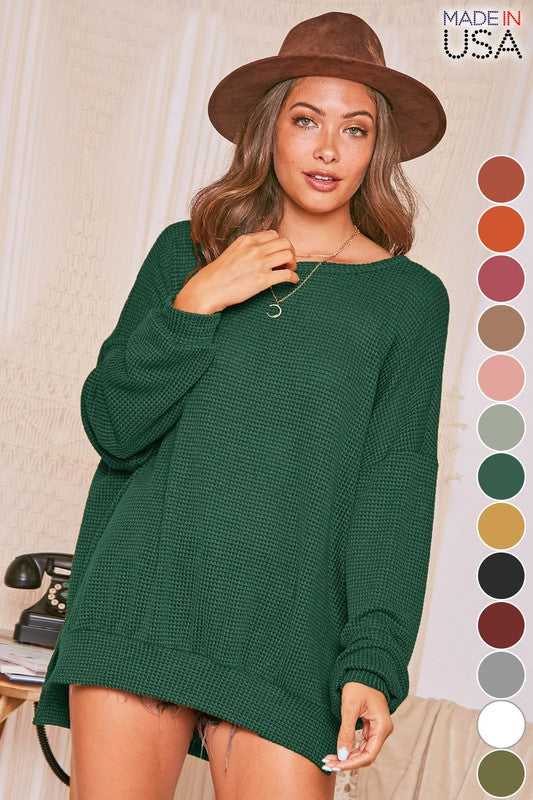 Hunter Green Waffle Sweater