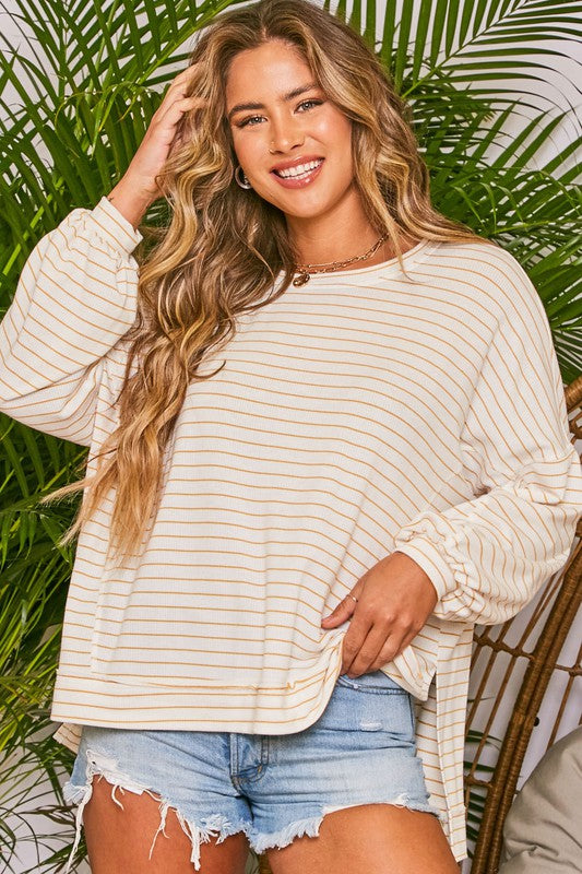 Pinstripe Knit Loose Fit Top