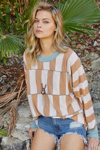 Merrow Stitch Striped Top