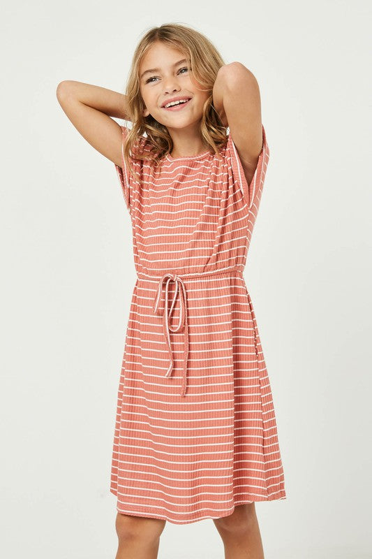Girls Ribbed Striped Dress