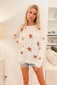Star Printed Light Weight Sweater Top