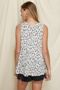 Animal Print Tiered Sleeveless Top