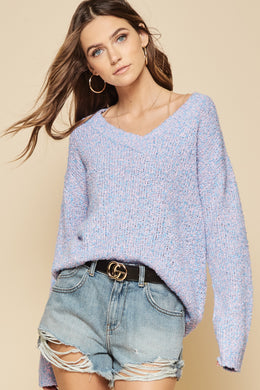 Blue/Pink Multi Color V-Neck Sweater