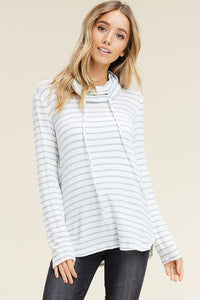 Grey/Ivory Striped Cowl Neck Brushed Top