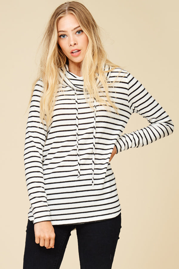 Black/Ivory Striped Cowl Neck Brushed Top
