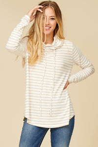 Oatmeal Striped Cowl Neck Brushed Top