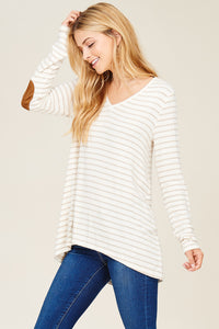 Long Sleeve V-Neck, Button Back, Suede Elbow Patch - Oatmeal