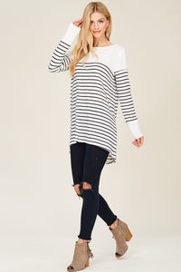 CONTRAST YOKE AND CUFF SOLID, LONG SLEEVE, BRUSHED STRIPE PULL OVER TOP