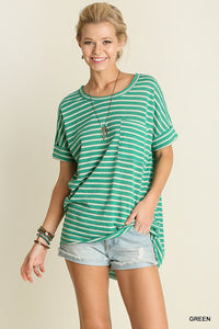 Green Basic Striped Top with Chest Pocket