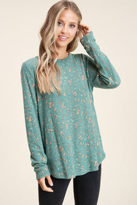 Hunter Green Floral Brushed Top