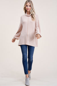 Oatmeal Puff Hem Brushed Top