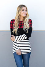 Buffalo Plaid and Striped Knit Top
