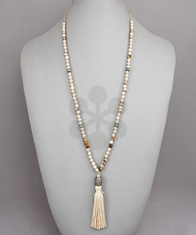 Beads and Curtain Tassel Necklace