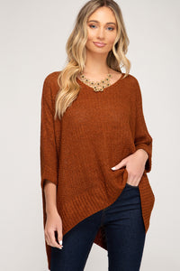 Hi Low Rust Sweater