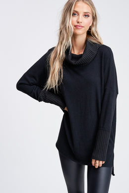 Black Cowl Neck Sweater (Sizes S-XL)