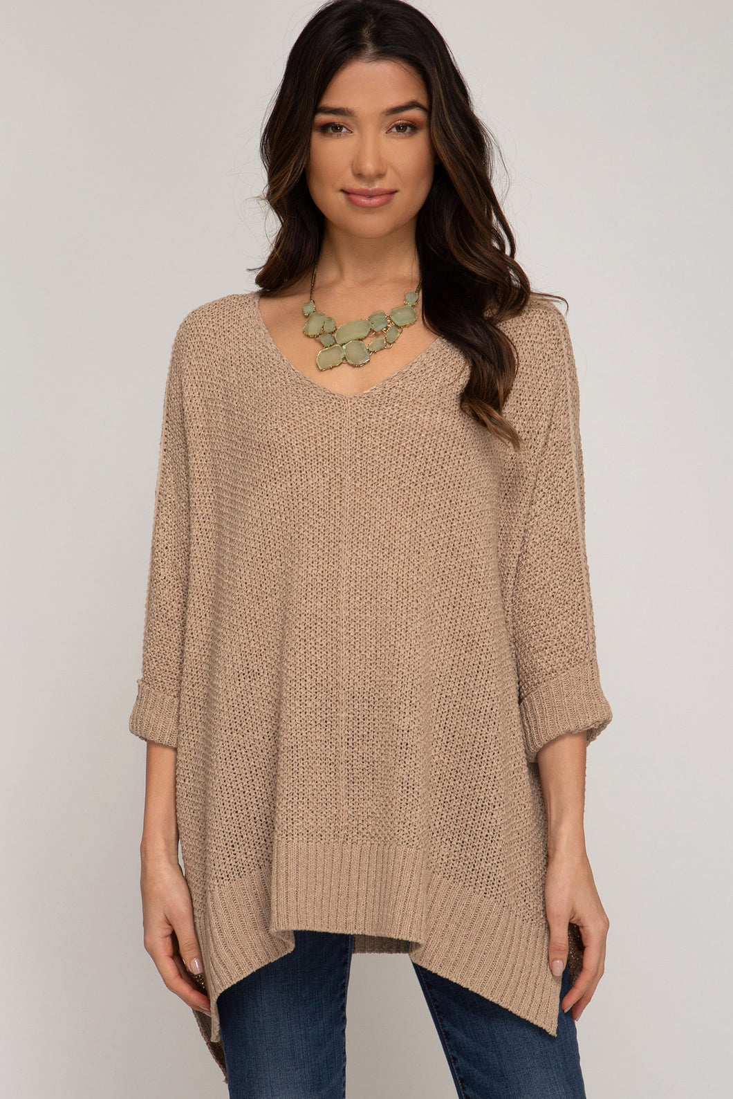 Hi Low Taupe Sweater