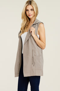 Hooded Vest in Taupe