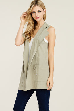 Hooded Vest in Olive