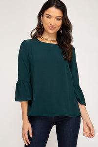 Green 3/4 Sleeve Top