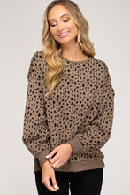 Spotted Knit Sweater with Tucked Sleeves
