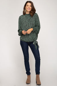 Jade Long Sleeve Spotted Top