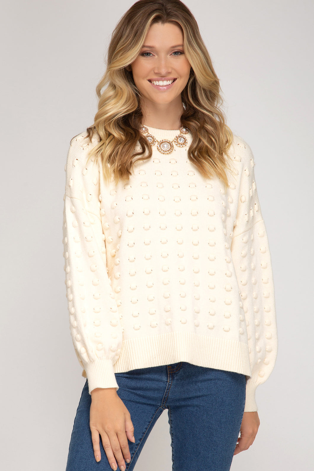 Balloon Sleeve Textured Knit Sweater