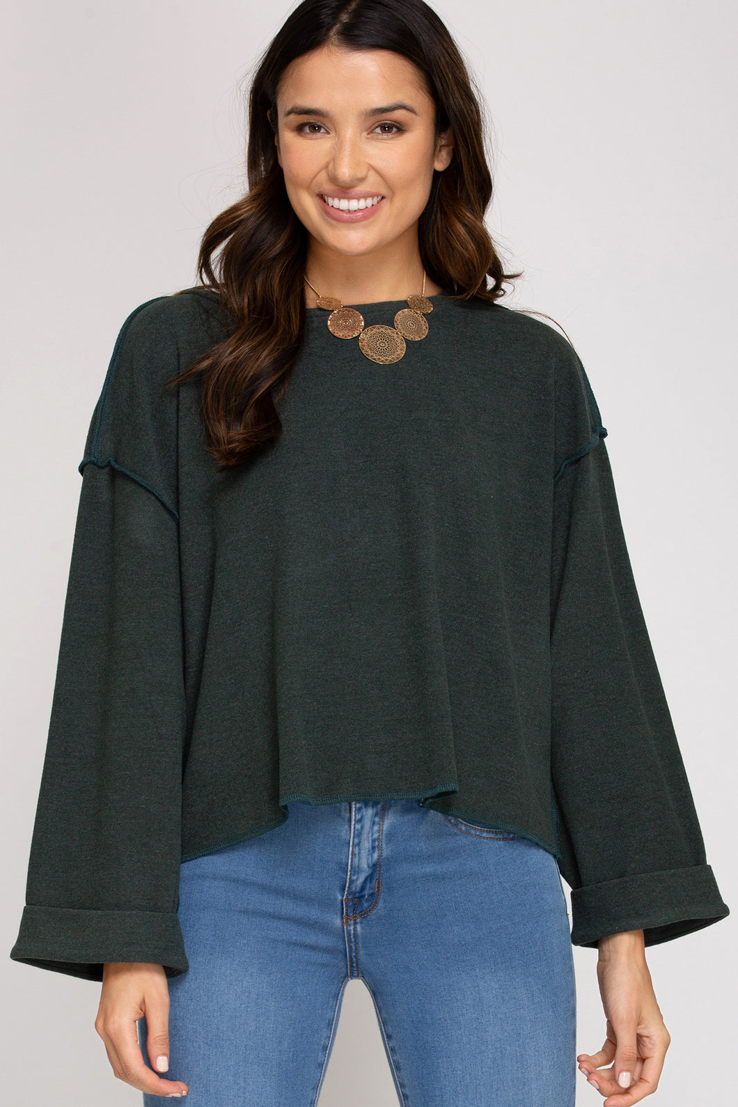 Hunter Green Long Sleeve Brushed Top