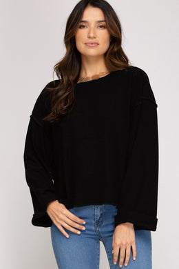 Black Long Sleeve Brushed Top
