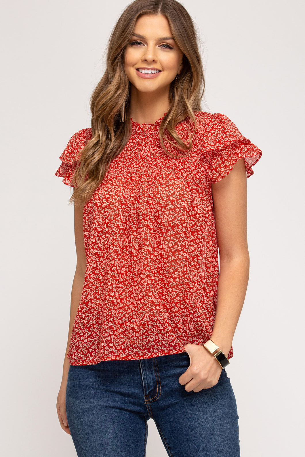Floral Flutter Sleeveless Top