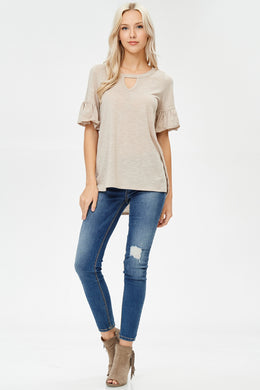 Keyhole Top - Light Taupe