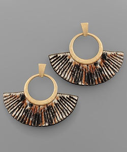 Circle & Animal Print Fan Earrings