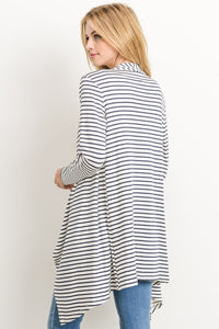 Navy/ White Striped Cardigan