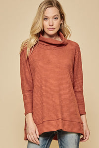 Rust Waffle Cowl Neck Sweater