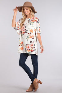Floral Printed Top with Ruffled Sleeves