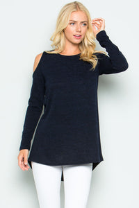 Long sleeve high low sweater - Black