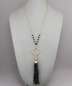 Black Quartrefoil Bead Tassel Necklace