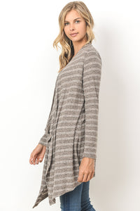 Striped Duster Cardigan - TAUPE