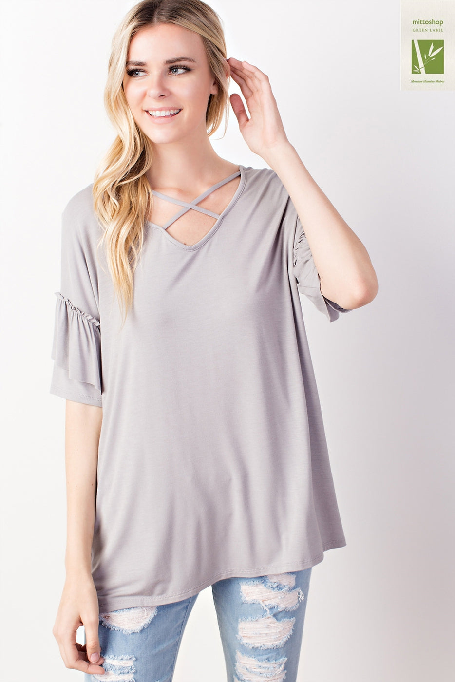 Criss Cross Front Ruffled Sleeve Top - Silver