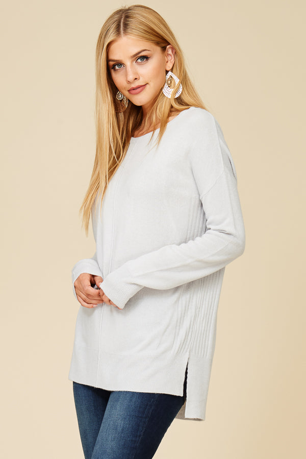 DROP SHOULDER, CENTER SEAMED PULL OVER SWEATER TOP- Silver