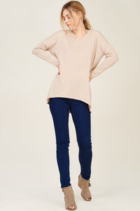 V Neck, LS Over Size Pull Over Sweater - Oatmeal