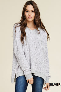 Silver Soft Hoodie Pullover Sweater