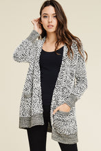Oatmeal Fuzzy Sweater Cardigan with Pockets