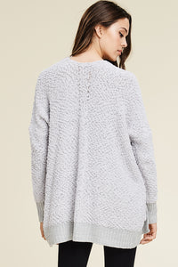 Silver Fuzzy Sweater Cardigan with Pockets