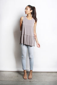 Ruffle Bottom Sleeveless Top -Grey