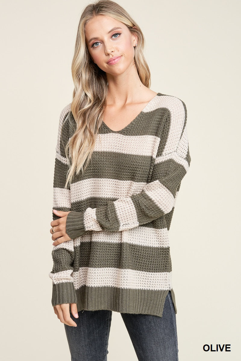 Olive Waffle Striped Sweater